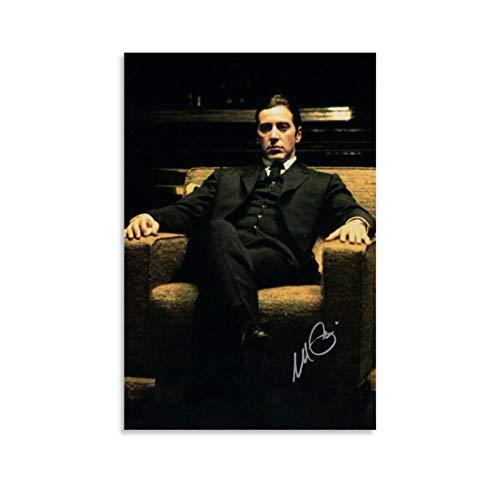 HUAIREN Póster de película de Al Pacino firmado por el Padrino Parte 2, impresión fotográfica sobre lienzo, decoración de habitación para dormitorio, pintura estética 40 x 60 cm