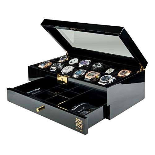 HAWK & GABLE Pearson Valet Watch Display Case with Jewelry and Accessories Valet | Premium Jewelry and Watch Box with Drawer, Glass Lid, and Lock | Black Piano Finish