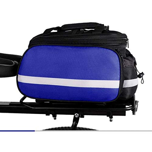ANXIANG Bicycle Carrier Package, Waterproof Multi-Function Short Travel Bike Bicycle Rear seat Luggage Bag, with Luggage Bag, Rack with rain Cover (Color : Blue)