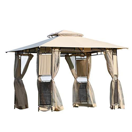 Outsunny tuinpaviljoen, 3 x 3 m, dubbel dak, muggennet, zijwanden, polyester, rotan, bruin