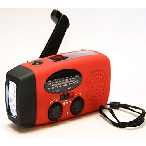 YUANP 3 in 1 Emergency Charger Hand Crank Generator with Radio Wind Up/Solar/Dynamo Powered FM/AM Radio,Phones Chargers LED Flashlight
