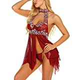 Women Sexy Lingerie Lace Babydoll Floral Lace Low Cut Mini Nightdress Mesh Chemise V Neck Sleepwear with G-String Red