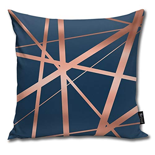 Ameok-Design Navy And Copper Luxe Velvet Soft Soild Microfiber Decorative Square Pillow Case Throw Cushion Cover for Sofa Bedroom Car with Invisible Zipper 18x18 Inch