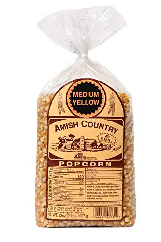 Amish Country Popcorn | 2 lb Bag | Medium Yellow Popcorn Kernels | Old Fashioned with Recipe Guide (Medium Yellow - 2 lb Bag)