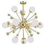 Moderno Oro Candelabro,Diente De León Techo Araña Iluminación Sputnik Luz Araña Con Sombras De Cristal Para Sala De Estar Comedor Foyer Dormitorio-Oro 12-lights