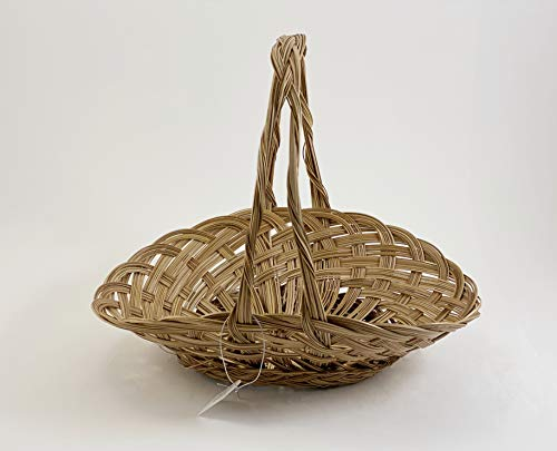CalCastle Oval with handle Gift Baskets, Woven Bread Roll Baskets, Food Serving Baskets, Natural Coco Midrib Material (14' - 2PCS)