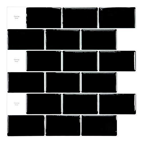 Art3d 30 * 30cm 10 Blätter Backsplash Fliesen für die Küche schälen und kleben Fliesenkleber Shiny Schwarz