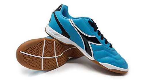 Diadora Women's Capitano ID Indoor Soccer Shoes (9.5 Wide, Columbia Blue/Black)