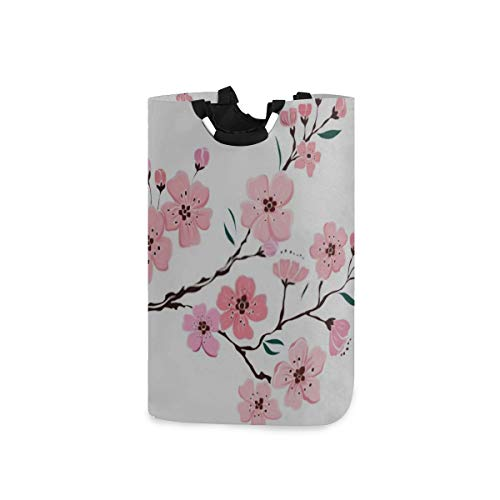 ZANSENG Colapsable Laundry Baskets,Branch Cherry Blossom On White Illustration Waterproof Portable Storage Bag with Carry Aluminium Handles for Dirty Clothes