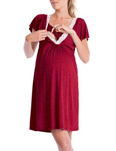 Lomon Still-Nachthemd für Schwangere Nachthemd-Nachtwäsche Zum Stillen, Wine Red-stil 1, XL