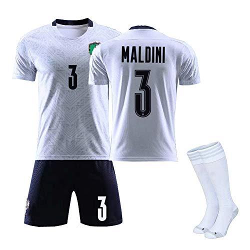 MRRTIME Fußballtrikot für Kinder Jungen Team Set, Buffon 1 Pellè 9 Bonucci 19 Chiellini 3 Match Uniform Set, Italien 2020 Auswärts Fans Kurzarm Fußball Kleidung Anzug-White Maldini 3-20