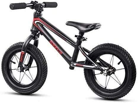 JIAO Bicicleta De Ejercicios para Principiantes para Niños Al Aire Libre, Bicicleta De Ejercicio Sin Pedal, Asiento Ajustable, Scooter para Niños Y Niñas De 2 A 6 Años(Color:Negro)