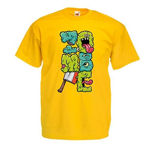 Camisetas Hombre Zombi Regalo del Friki Idea para un Regalo Inusual (X-Large Amarillo Multicolor)