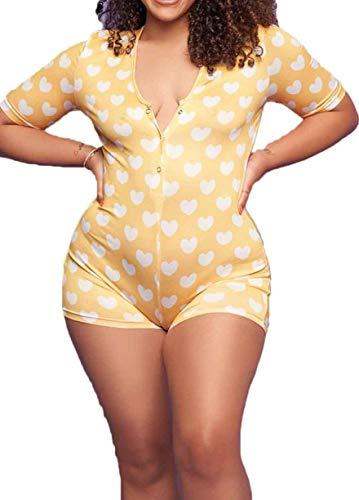 Loalirando Pijama de mujer ajustado con cuello en V y estampado de corazón para mujer, de manga corta amarillo XL