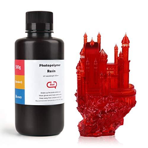 ELEGOO LCD UV 405nm Resina Rapida per Stampante 3D LCD 500g Resina Fotopolimerica Rosso(ABS Like)