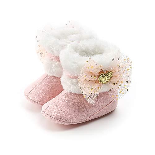 Morbuy Baby Baumwolle Schuhe Winter Einfarbig Babyschuhe Neugeborene Mädchen Alleinige Anti-Rutsch Krabbelschuhe Wanderer Schuhe Niedlicher Bogen Schneestiefel (11cm / 0-6 Monate, Rosa)