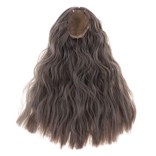 P Prettyia 16inch Bjd Puppe Haar Lange lockige Perücke für YOSD 1/4 Puppe DIY liefert braun - Grau