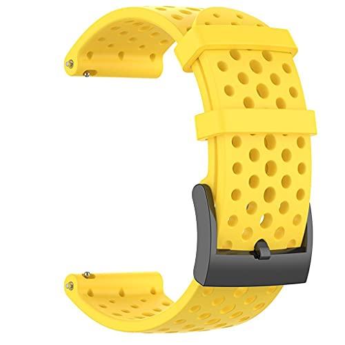 gujiu Silicone Wamkband Sport Fitness Band, para Suunto Spartan Sport Muñequera HR Baro Suunto9 Bandas de Silicona Silicona Acero Inoxidable Buck Reemplazo de Pulsera (Color : Yellow, Size : Small)