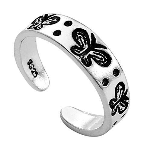 Ushiny - Anello a forma di farfalla, in argento, intagliato, aperto, con farfalla, regolabile, per donne e ragazze