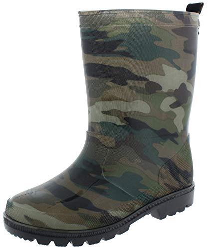 Capelli New York Boys Rugged Camo Printed Rain Boots Green Combo 11