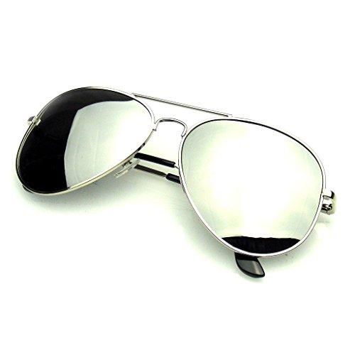 Emblem Eyewear - Aviator Occhiali Da Sole Vintage Specchio Lente Nuova Uomini Donne Moda Pilota Retrò Telaio (Lente Polarizzata | Argento)