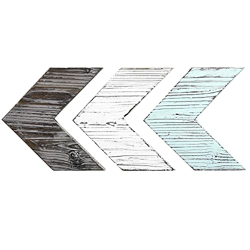 MyGift Wall-Mounted Decorative Mixed Distressed Blue & Brown Wood Chevrons Wall Decor, Set of 3