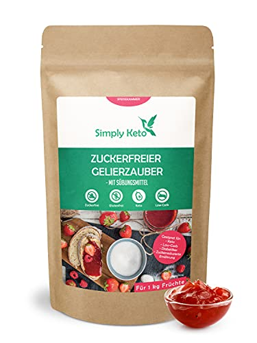Simply Keto Azúcar gelificante de eritritol sin azúcar 230g - Para la preparación de mermelada low carb & keto - Para 1kg de fruta - Endulzado con eritritol y stevia - Vegano y sin azúcares añadidos