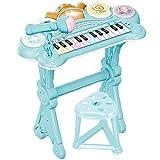 RASTAR キッズ 可愛いピアノおもちゃ 電子ミニピアノ 音楽おもちゃ キーボード ミニキーボード 音楽玩具 子供ピアノ オモチャのピアノ 光ナビレッスン 知育玩具 誕生日 子供の日 鯉のぼり クリスマス プレゼント 多機能 (ブルー)