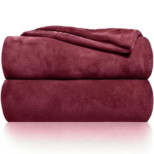 Gräfenstayn® Coperta morbida - Tante dimensioni e Colori diversi - coperta in Microfibra da soggiorno copriletto copri divano - Vello in Microfibra di flanella (Bordeaux, 240x220 cm)