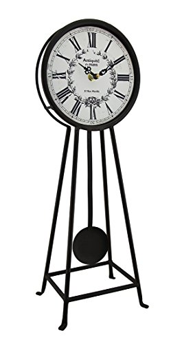 Zeckos Antiquite De Paris Rustic Brown Metal Pendulum Table Clock 18 Inch