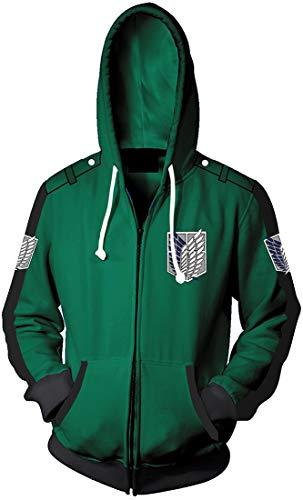 EMLAI Hombre Chaqueta de con cremallera Inspirado en Attack On Titan Uniforme 3D Chaqueta con capucha(1-Verde,L)