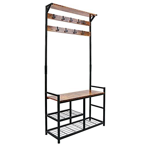 HOMEKOKO Coat Rack Shoe Bench, Hall Tree Entryway Storage Bench, Wood Look Accent Furniture with Metal Frame, 3-in-1 Design