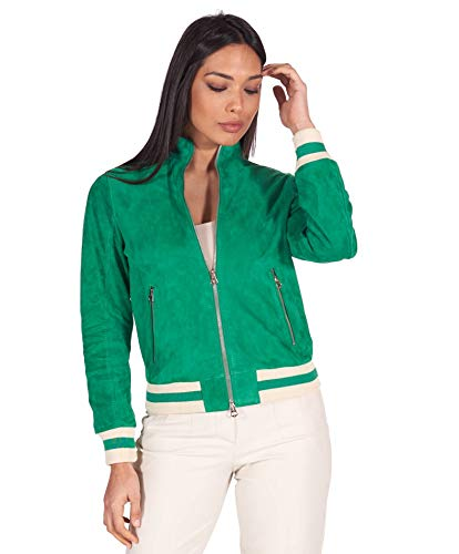 D'Arienzo Green Genuine Italian Suede Leather Bomber Jacket Women Leather Moto Jacket Made in Italy G154