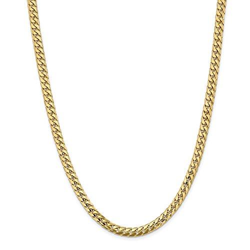 Collana in oro giallo 14 kt, 5,5 mm, con catena cubana Miami da uomo e da donna