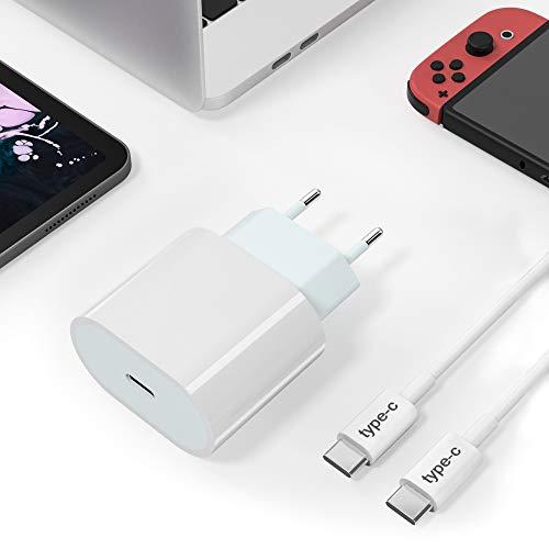 Caricatore USB C 20W, USB C PD Caricatore Phone con cavo da 1M da USB-C a USB-C Compatibile con Phone 12, 12 Pro,12 Pro Max, 12 Mini, 11Pro, X, Pad Pro 2020, Galaxy S21, S20, A5 etc