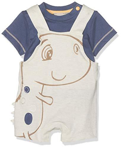 Chicco Baby-Jungen Completo T-Shirt Manica Salopette Corta Latzhose, Weiß (Naturale Medio 061), 44 (Herstellergröße: 050)