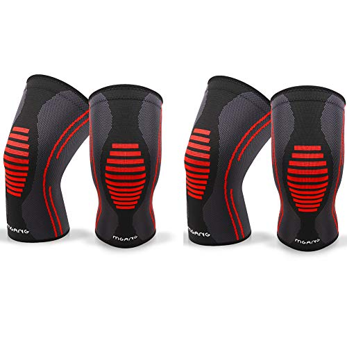 Knee Compression Sleeve, 1 Pair, Best Knee Brace Support for Running & Arthritis, Squats & Workouts, Crossfit, MCL, ACL, Injury Recovery, Pain Relief, Weightlifting, Basketball, Men & Women, Black XL