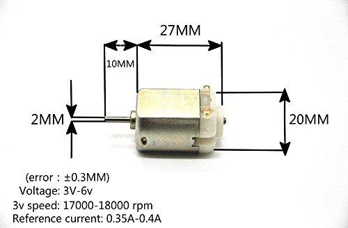 J-Cloud 10/Pack 6V 130 DC 17000-18000 RPM Toy Motors (DIY Small RC Car Motor)