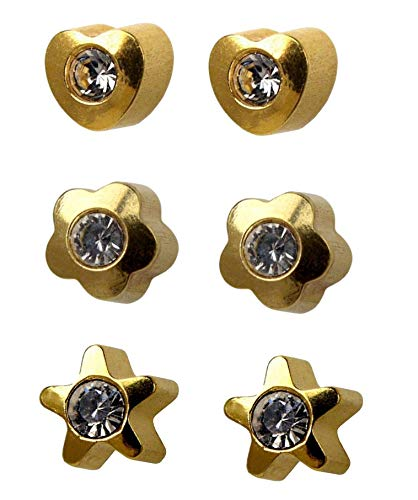 Mytoptrendz Sterilized Ear Piercing Studs Surgical Steel 16 Gauge Stud Earrings Gold Plated Shape with Clear Crystal (3 Mix Shape)