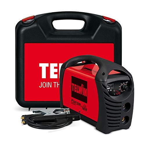 Telwin 07170085 Force 165 Saldatrice Inverter ad Elettrodo Completa di Accessori in Valigetta, 230V, Rosso, Force 165 in Valigetta