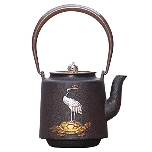 Cast Iron Kettle, Crane and Tortoise Pattern Cast Iron Teapot, Uncoated Original Iron Tea Set, Can be Used with Induction Cookers, Cast Iron Stoves and Other Stoves
