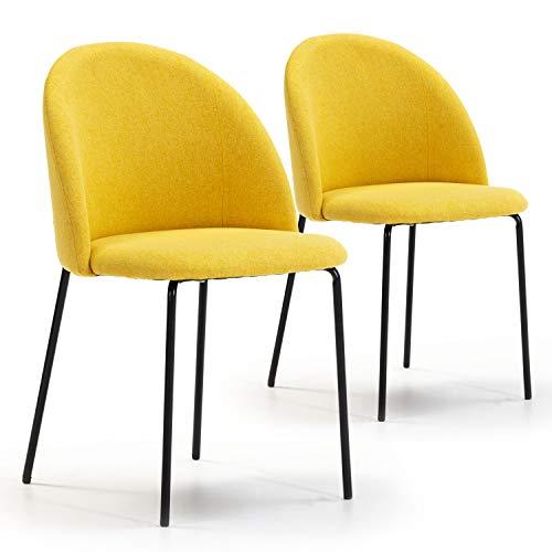 VS Venta-stock Set de 2 sillas Comedor Kenia tapizadas Mostaza, certificada por la SGS, 43 cm (Ancho