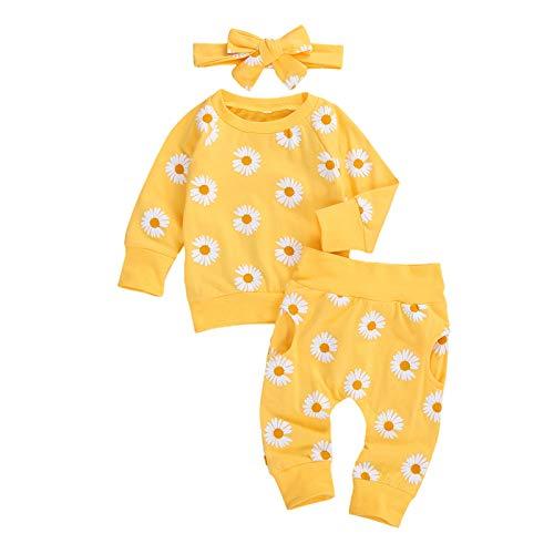 Geagodelia Conjunto de ropa de bebé para niñas con cuello redondo y estampado de margaritas de manga larga y pantalones de 0 a 24 m