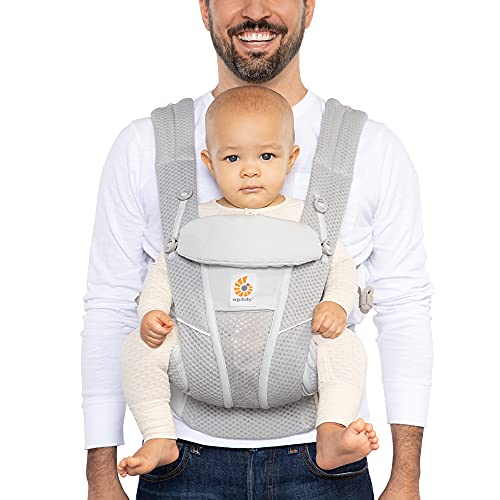 Ergobaby Omni Breeze All Carry Positions Breathable Mesh Baby Carrier with Enhanced Lumbar Support & Airflow (7-45 Lb), Pearl Grey