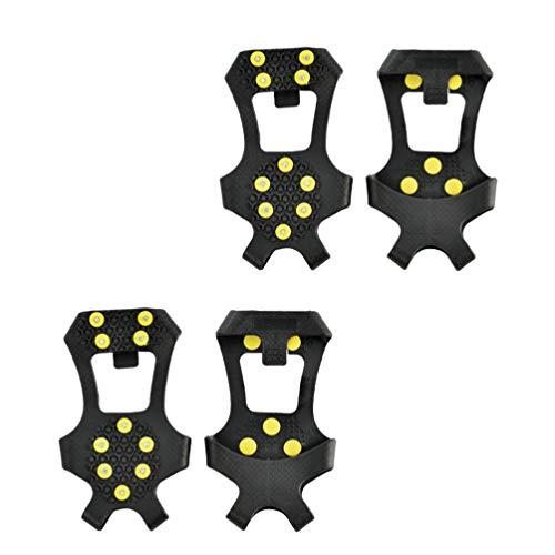 LIOOBO 2 Paar Outdoor 10 zähne eisschuh Spikes steigeisen silikon Spikes EIS schneegriffe Stiefel Schuhe sicher schützen steigeisen zum joggen Klettern und wandern (größe s)