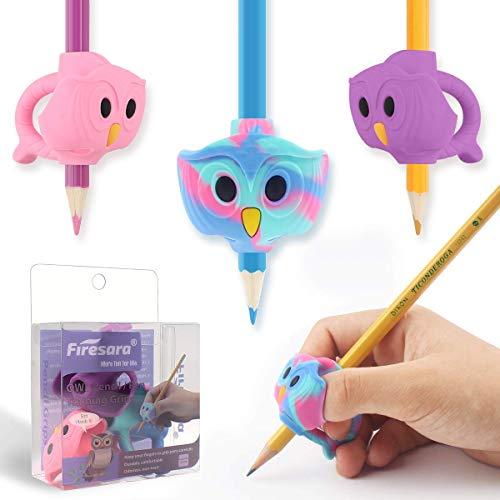 Matita Grip, Firesara Original Owl Pencil Grips per bambini ergonomica 3 set di dita per la correzione della postura della calligrafia del trainer, Destrieri e mancini (3 pezzi)