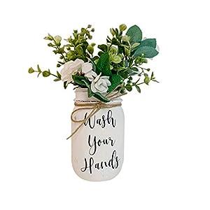 Wash Your Hands, Hand Painted and Distressed, Pint 16 oz. Regular Mouth Ball Mason Jar, Artificial Flower Arrangement, Rustic Farmhouse Mason Jar Bathroom Decor, Rustic Farmhouse Style, Christmas Gift