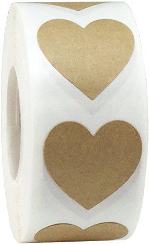 Braune Natürliche Kraft Herz Aufkleber, 25 mm 1 Zoll Valentinstag Etiketten 500 Packung