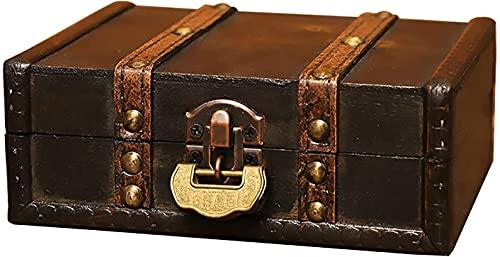 X&Z-XAOY Caja De Almacenamiento De Joyas, Caja De Joyería De Madera A Prueba De Polvo, Caja De Almacenamiento De Escritorio, Caja De Madera Vintage (Color : B, Size : 8.67inx6.1inx3.15in)