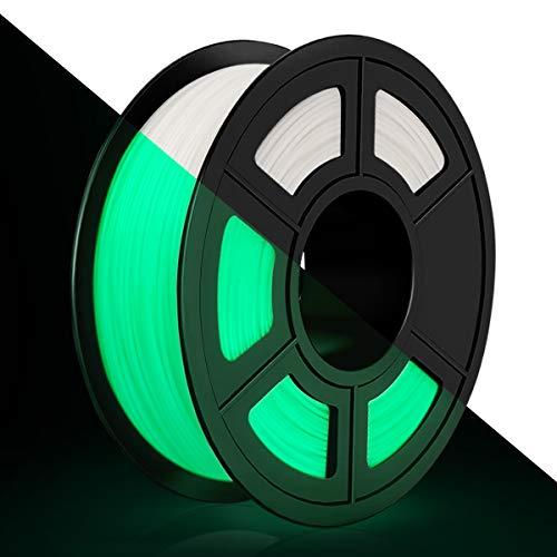 Filamento de PLA para Impresora 3D 1,75mm, Filamento PLA Glow in the Dark 1KG, Precisión dimensional +/- 0,02 mm, PLA que Brilla en la Oscuridad Blanco